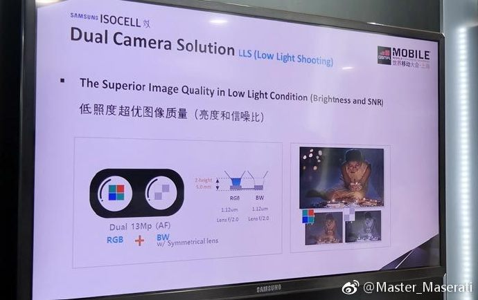 Samsung show dual camera scheme, color + black and white, parallel arrangement