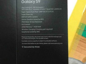 Samsung Galaxy S9 package box