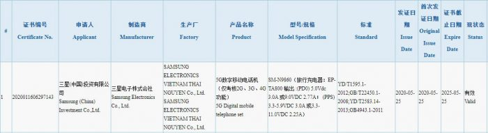 Samsung Galaxy Note20+ 3C certification