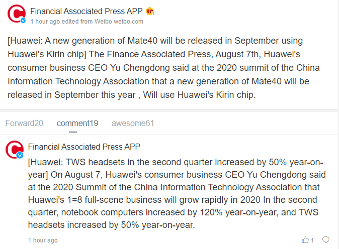Huawei Mate40 and P40, Huawei's 1st Half 2020 Sales