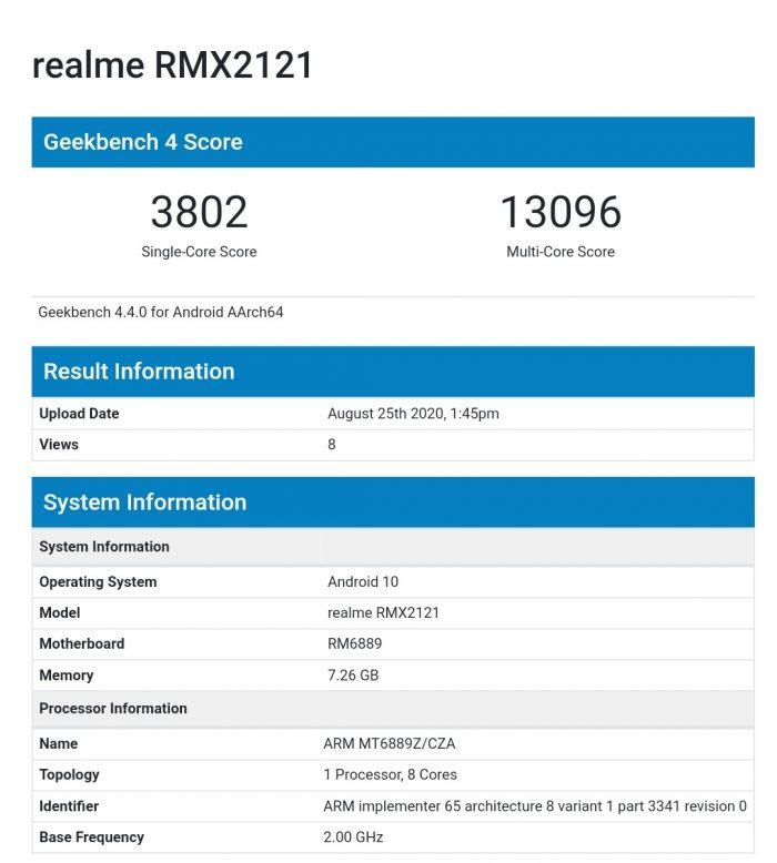 RMX2121 Geekbench
