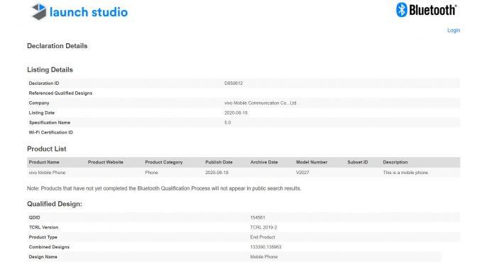 Vivo Y20 Bluetooth Certification