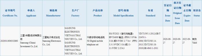 Galaxy W21 5G 3C Certification