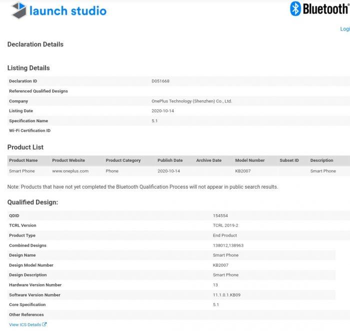 OnePlus 8T Bluetooth