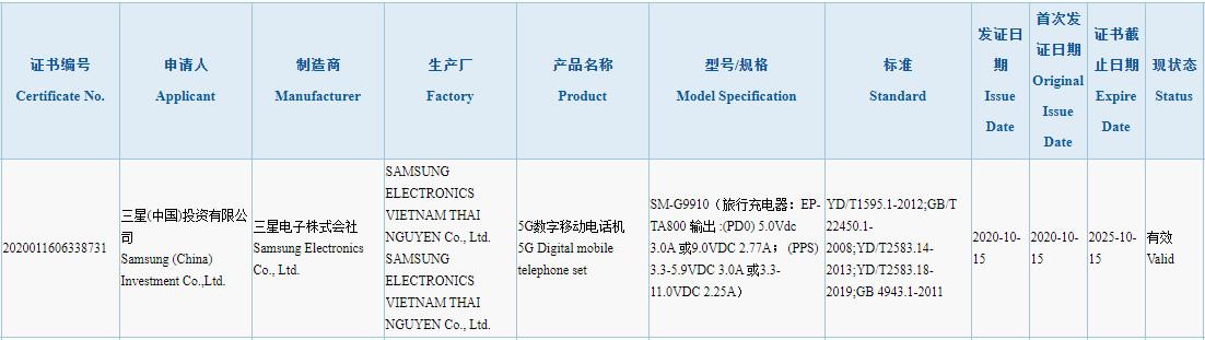 Samsung Galaxy S21 3C