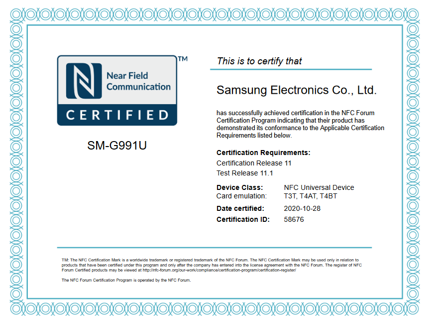 Galaxy S21 NFC Certification