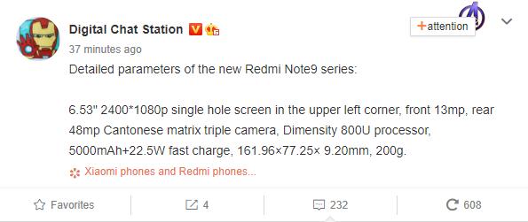 Redmi Note 9 Series Specs (1)