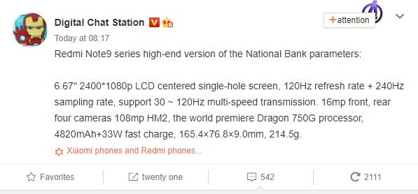 Redmi Note 9 Series Specs