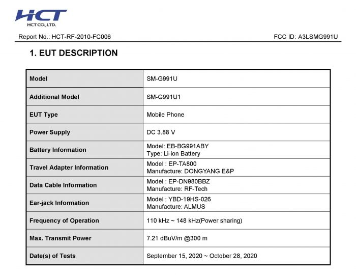 Galaxy S21 FCC Certification