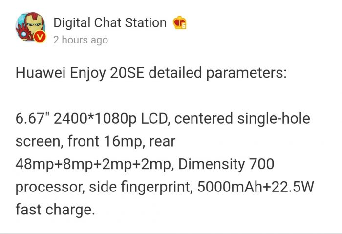 Huawei Enjoy20 SE Specs