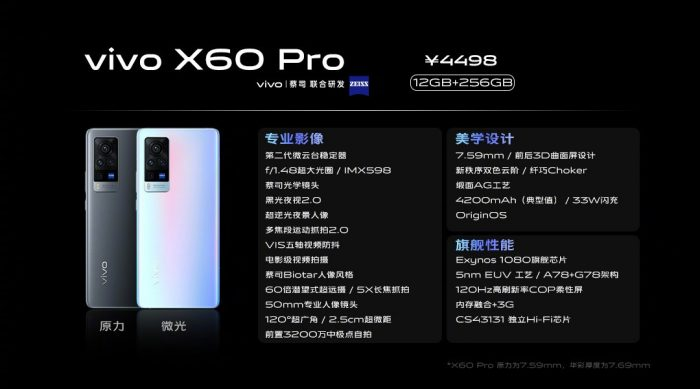 Vivo X60 Pro Version Specifications
