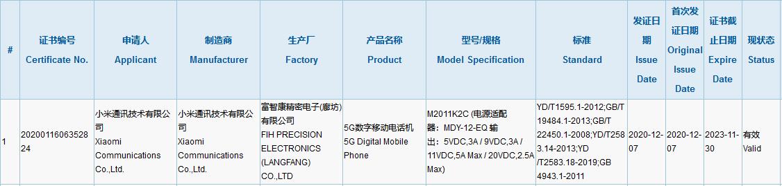 Xiaomi Mi 11 3C Certification