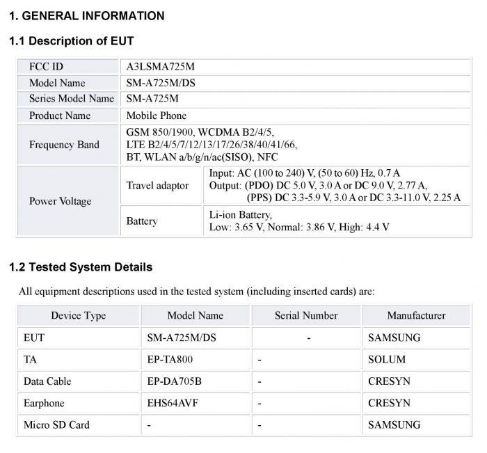 Galaxy A72 FCC Certification (2)