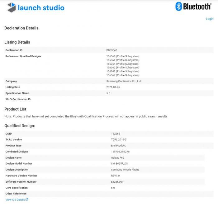 Galaxy M62 & F62 Bluetooth Certification