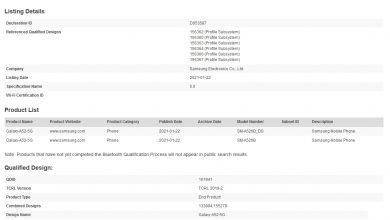Galaxy A52 5G Bluetooth Certification