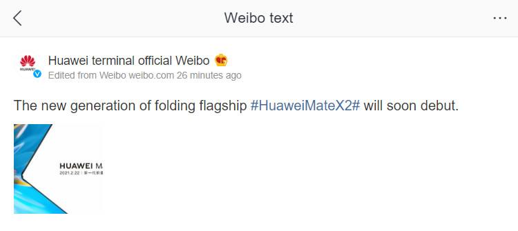 mate x2 weibo
